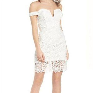 ASTR the Label Lace Bodycon White Midi Dress Large